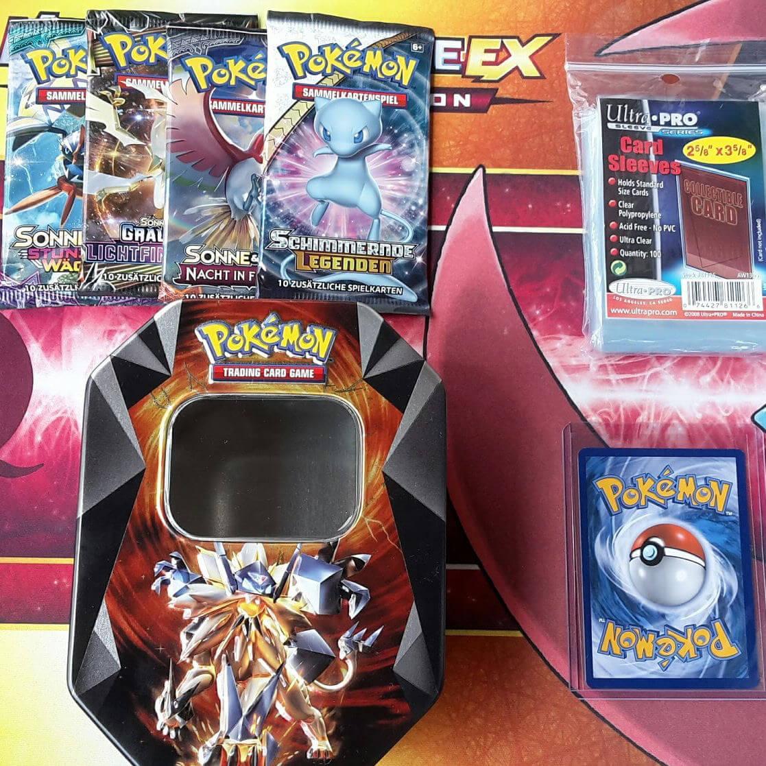 Details About Pokemon Tin Box Geschenk Paket Seltene Gxex Karte 4 Booster 100 Hüllen